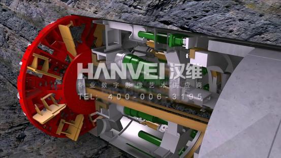 盾构机机械工程动画制作